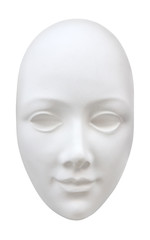 Abstract clear white face mask. Clipping path included.