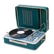 Retro portable turntable. Clipping path included.