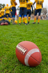 Rugby ball on a grass on a background of players