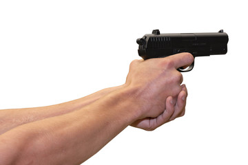 gun in hands on a white background
