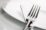 Fototapety Dinner plate, knife and fork silverware