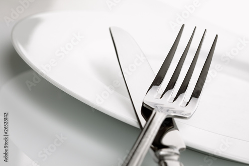 Dinner plate, knife and fork silverware