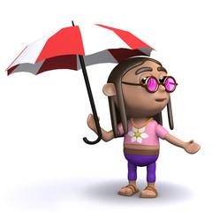 3d Hippy under an umbrella