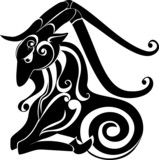 tattoo Capricorn. Astrology sign. Vector zodiac