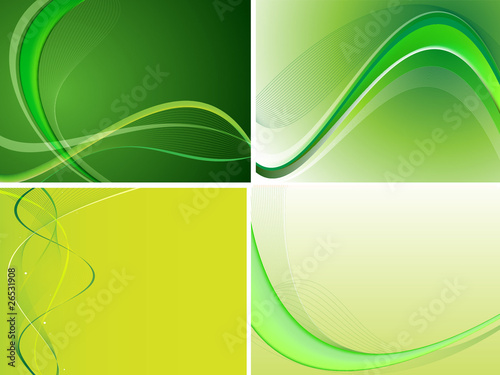 Green Abstract Background Set