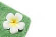 Frangipani flower on green towel isolated on white