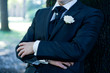 Groom with Tuxedo and Wedding Flower