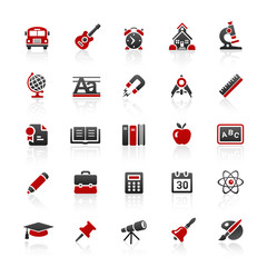 Red Black Web Icons - School & Education
