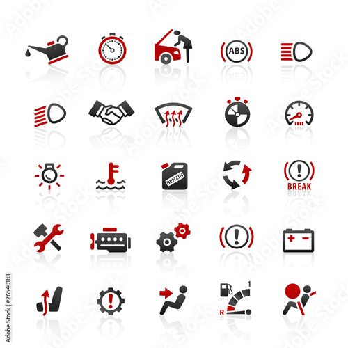 Red Black Web Icons - Car & Workshop