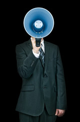 Business man holding megaphone