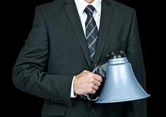 holding megaphone