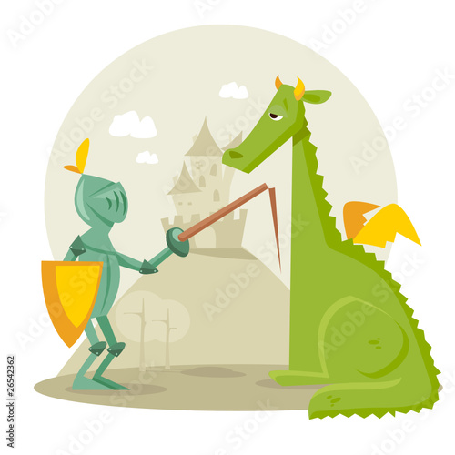 Cartoon knight with a dragon, vector illustration