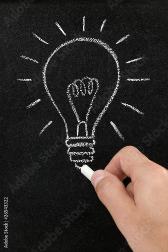 Light bulb drawn on a blackboard