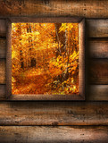 Fototapety Autumn landscape view through a pine window