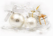 Christmas ball baubles with gifts and silver decoration