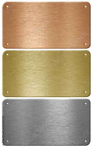 Aluminum, copper and brass metal plates with rivets isolated wit