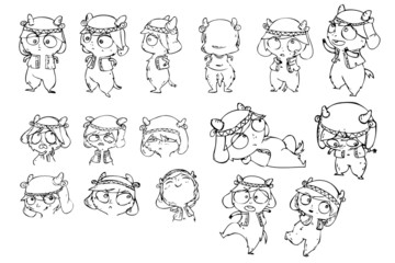 Set of different pose vector cow