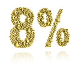 3D Illustration of eight percent