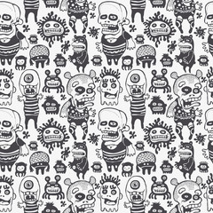 funny characters ornament, seamless vector pattern