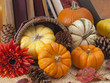 Ornamental pumpkins and books