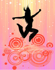 jumping woman. retro style design