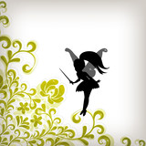 Floral background with little fairy, magic concept