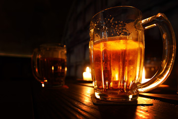 beer in dark