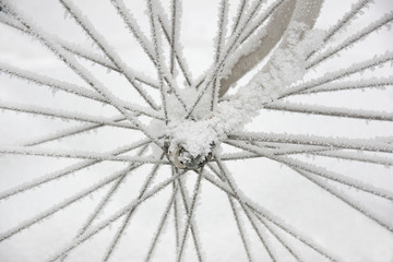 Bicycle wheel in rime frost