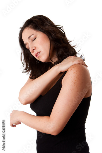 Woman with shoulder neck pain