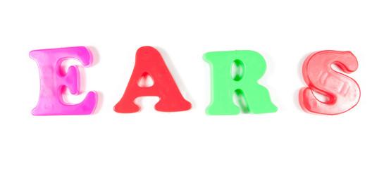 ears written in fridge magnets