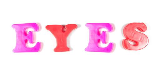 eyes written in fridge magnets