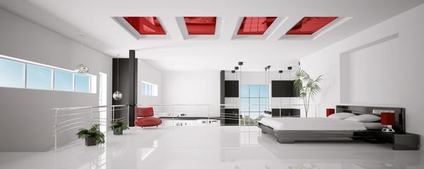 Schlafzimmer Interior panorama 3d render