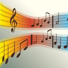 Notes de musique sur portée 3, vecteur