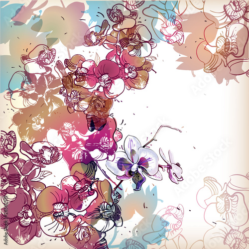 Panel Szklany floral background with colored orchids