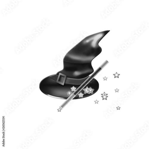 Witch hat,magic wand and a little stars isolated on white
