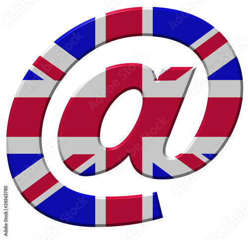 E-mail symbol showing UK flag