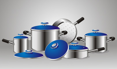 a set of chrome-plated pans with blue lids