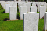 War cemetery with white headstones poster