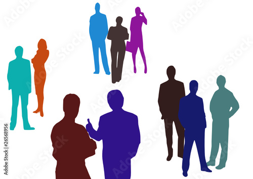 business people standing on a white background