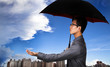 The insurance agent with umbrella