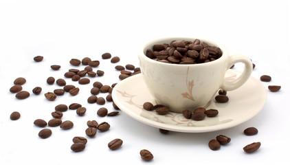 Full cup of coffee grain