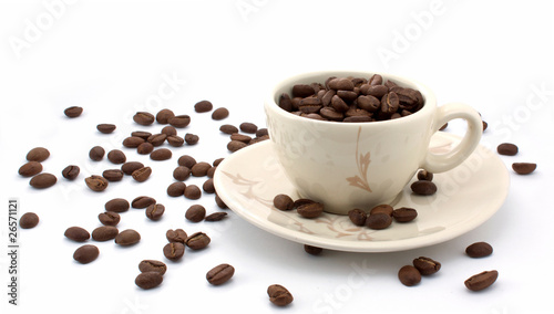 Full cup of coffee grain