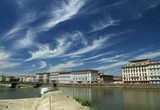 cloudscape with Arno river in Florence, Tuscany