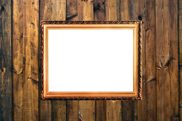 small russian style vintage elegant frame on wooden rough planks