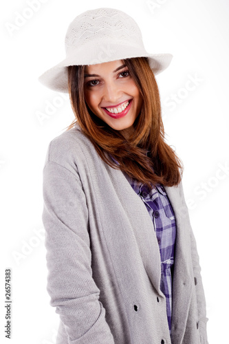 Side pose of a young model smiling