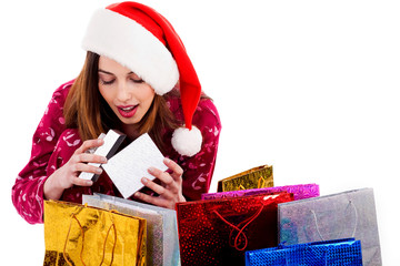 lady opening christmas gift box