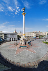 The column on the Independence Square in Kiev, Ukraine