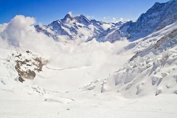 Mist at Jungfraujoch, part of Swiss Alpine Alps, Switzerland.