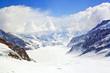 Closeup of Great Aletsch Glacier Jungfrau Switzerland