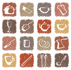 Icons of kitchen ware